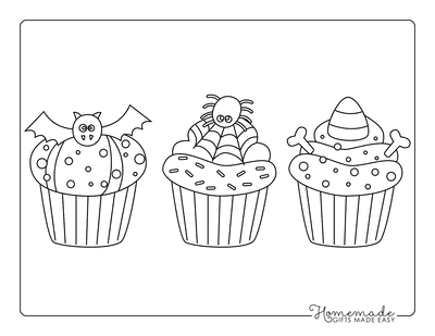 Halloween Coloring Pages Spooky Cupcakes Kids Set 2