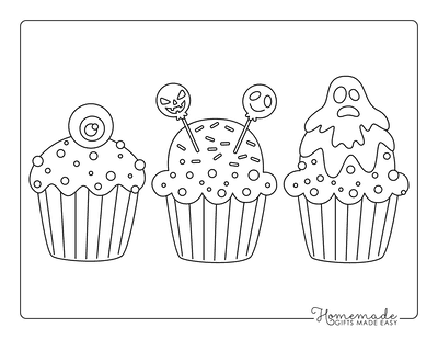 Halloween Coloring Pages Spooky Cupcakes Kids Set 3