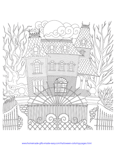 Halloween Coloring Pages Spooky Haunted House Intricate Pattern