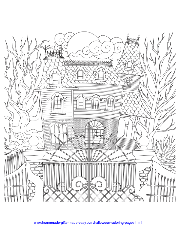 halloween coloring pages - Intricate haunted house with gates