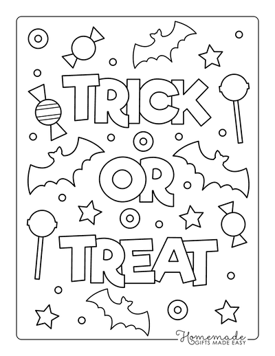 Halloween Coloring Pages Trick or Treat Candy Bats