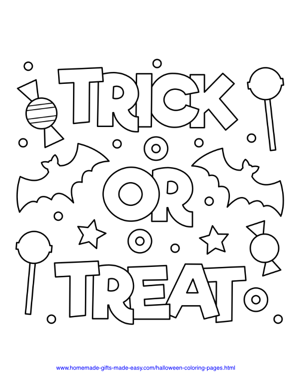halloween coloring pages - Trick or treat with candy and bats