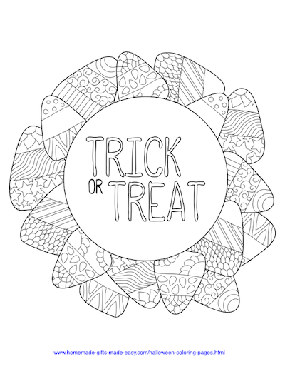 Halloween Coloring Pages Trick Treat Candy Corn