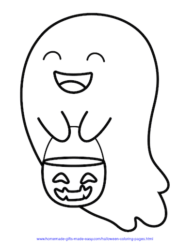 Halloween Coloring Pages Trick Treat Cute Ghost