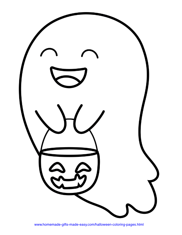 halloween coloring pages - Cute ghost with trick or treat basket