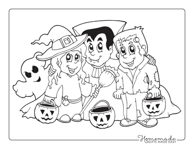 Halloween Coloring Pages Trick Treat Ghost Witch Vampire Monster