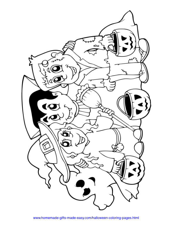 halloween coloring pages - Ghost, witch, vampire and monster