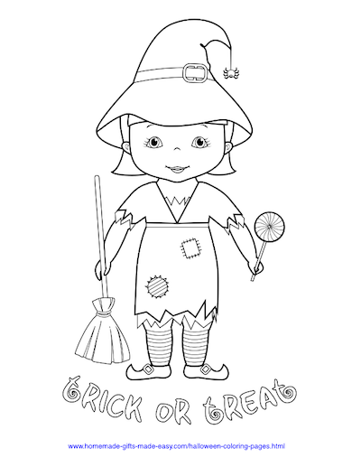 Halloween Coloring Pages Trick Treat Witch Costume