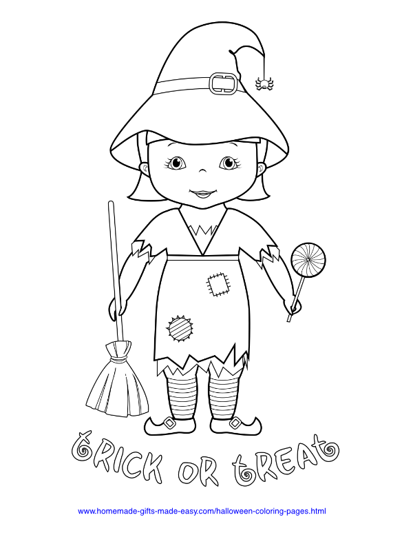 halloween coloring pages - Trick or treat girl in witch costume