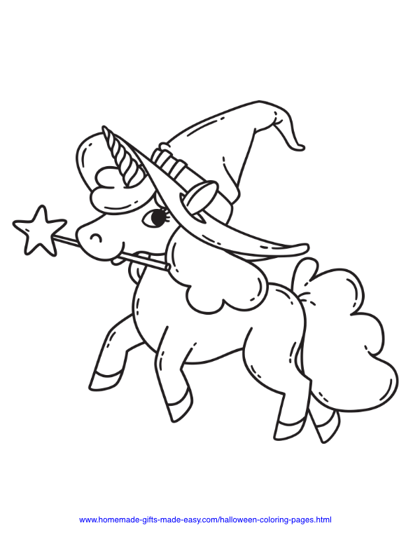halloween coloring pages - Cute Unicorn with Witch Hat and Wand