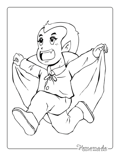Halloween Coloring Pages Vampire Running