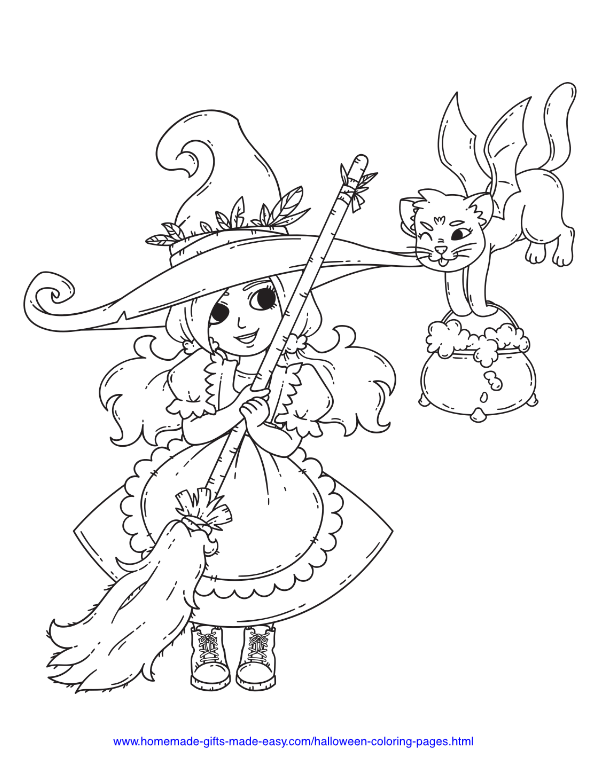 halloween coloring pages - Witch with broom, hat, and flying bat-cat