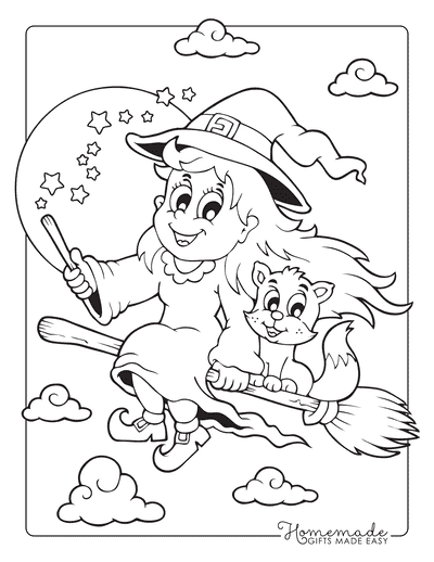 Halloween Coloring Pages Witch Cat Broomstick Wand
