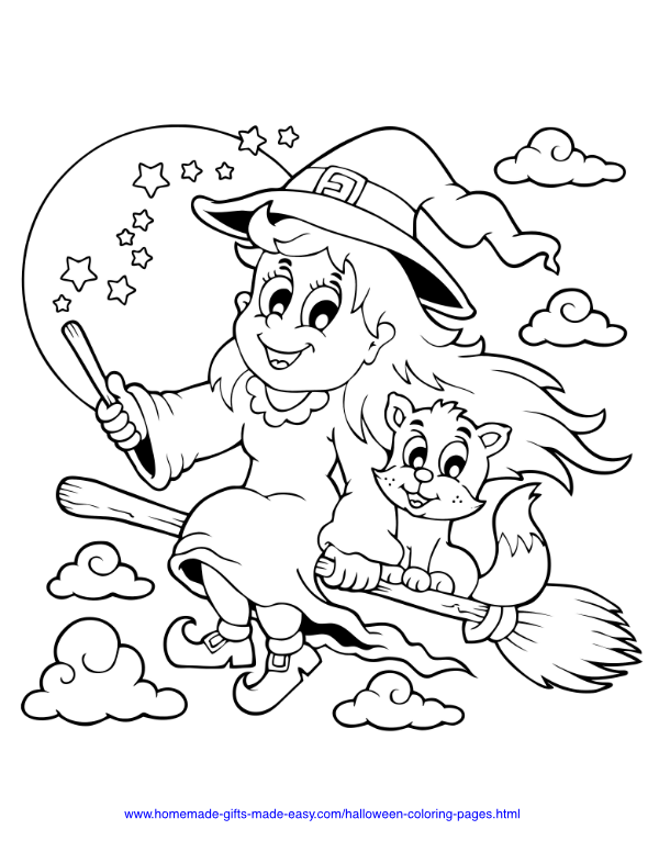 halloween coloring pages - Witch and cat flying on broomstick