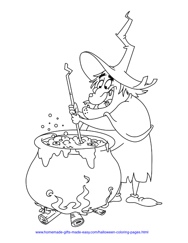 halloween coloring pages - Witch stirring a cauldron