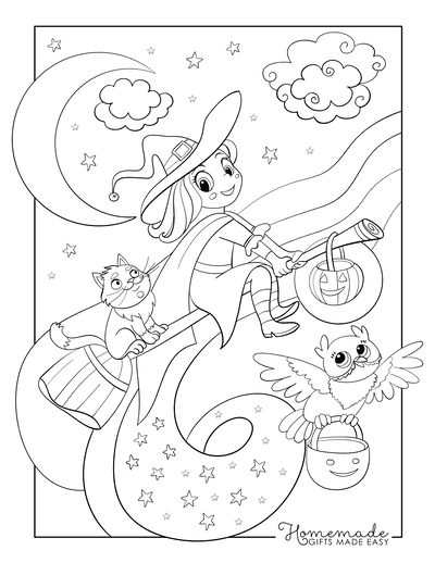 Halloween Coloring Pages Witch Flying Broomstick Cat Owl