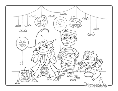 Halloween Coloring Pages Witch Mummy Pirate