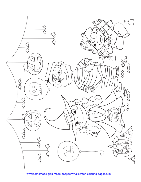 halloween coloring pages - Witch, mummy & pirate