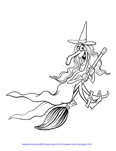 Halloween Coloring Pages Witch on Broom