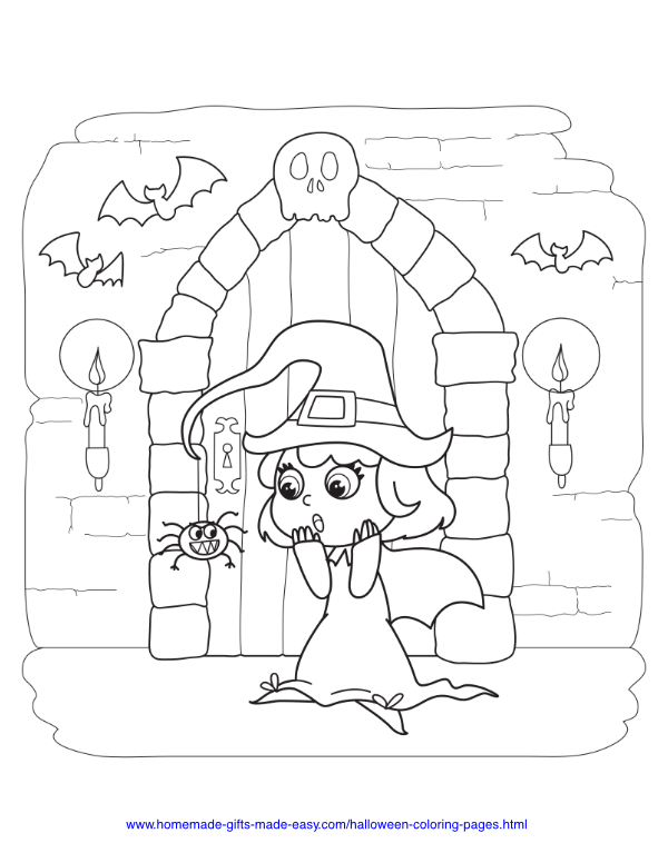 halloween coloring pages - Cute Witch in Spooky House