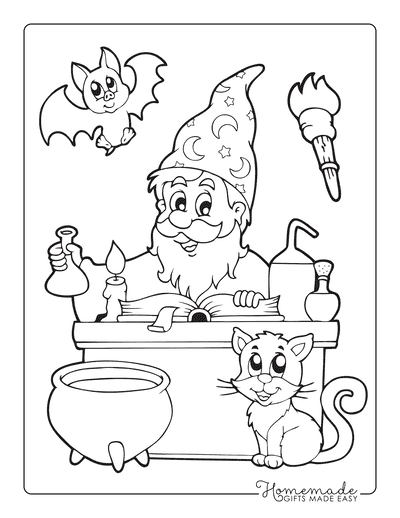 Halloween Coloring Pages Wizard Book Cauldron Cat