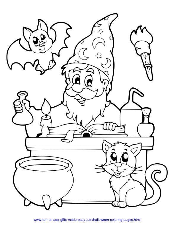 halloween coloring pages - Wizard with cauldron, spellbook, bat and cat