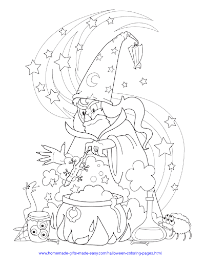 Halloween Coloring Pages Wizard Cauldron Newt