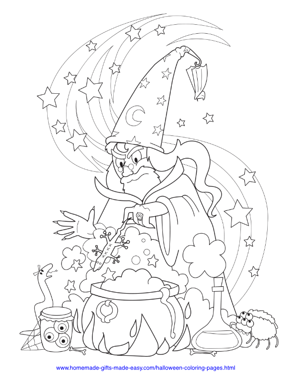 halloween coloring pages - Wizard with cauldron and creepy crawlies