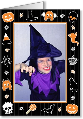 halloween photo cards black striped frame