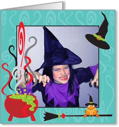 halloween photo cards cauldron blue frame