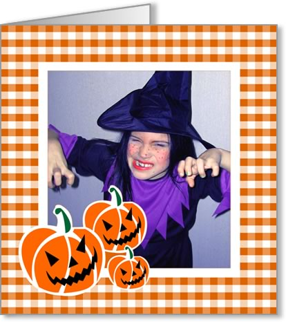halloween photo cards orange checked frame