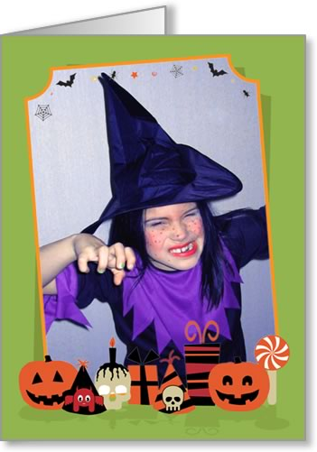 halloween photo cards green slanted frame