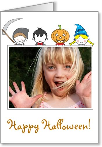 halloween photo cards kids peeking over frame