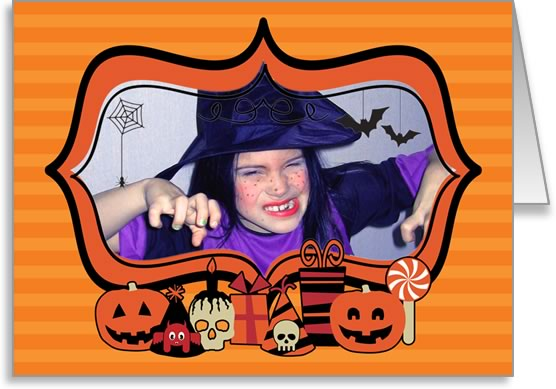 halloween photo cards oranged striped frame