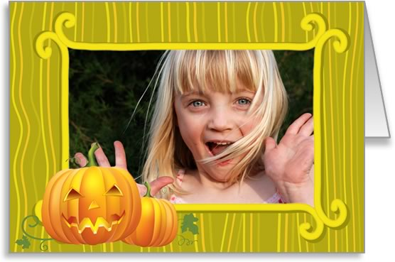 halloween photo cards green frame with pumpkin