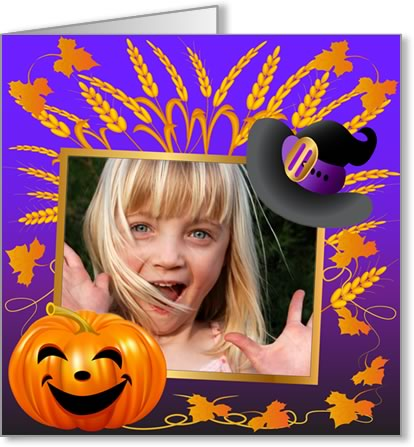 halloween photo cards witches hat on slanted frame