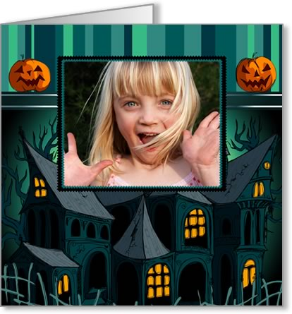 halloween photo cards spooky houses