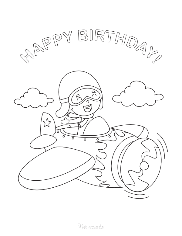 happy birthday coloring pages - airplane