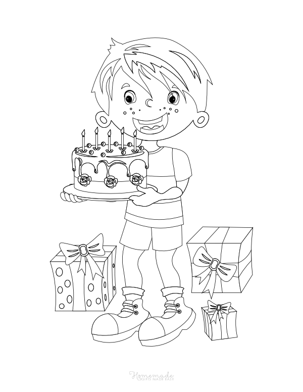 happy birthday coloring pages - boy with cake and presents