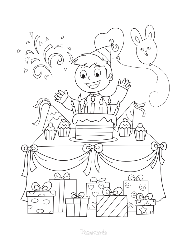 happy birthday coloring pages - boy at party table