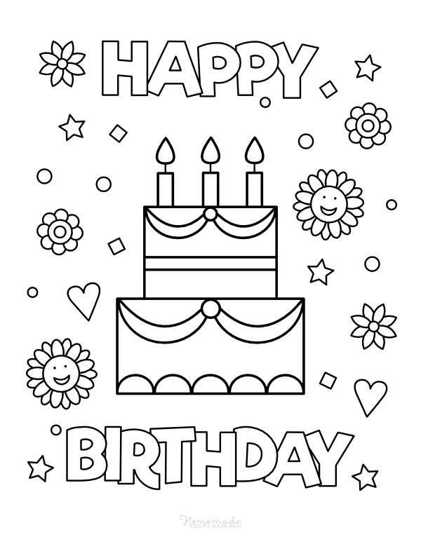 happy birthday coloring pages - cake with candles, flowers, hearts and stars