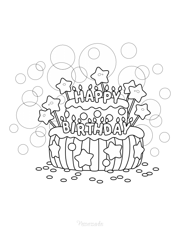 happy birthday coloring pages - cake with candles, stars and confetti