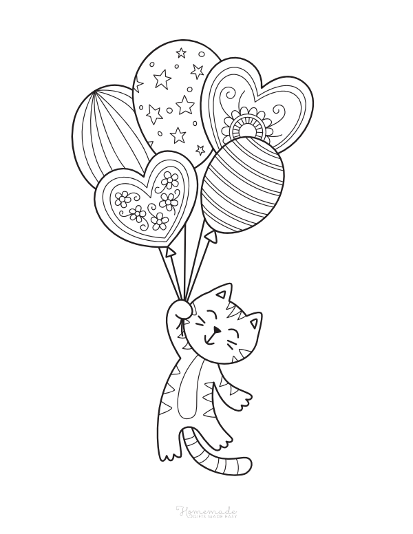 happy birthday coloring pages - cute cat with balloons