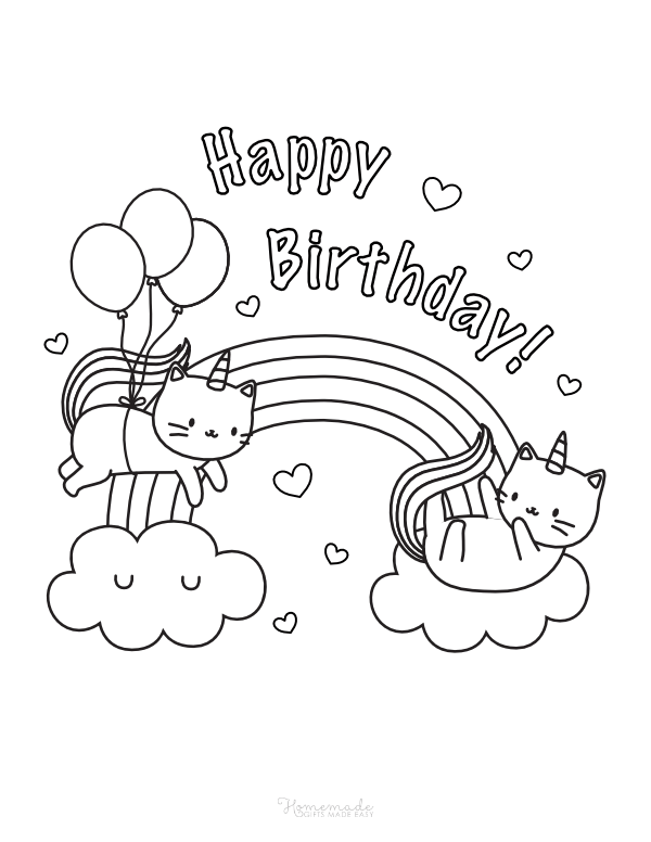 happy birthday coloring pages - caticorns and rainbows