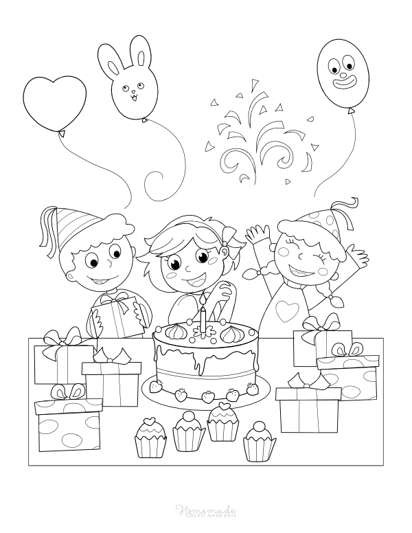 happy birthday coloring pages - children with balloons, cake, and gifts