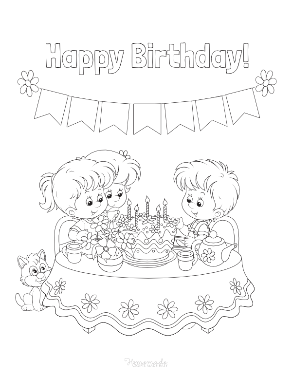 happy birthday coloring pages - children with cake and banner