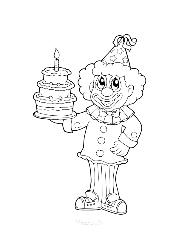 happy birthday coloring pages - clown with cake