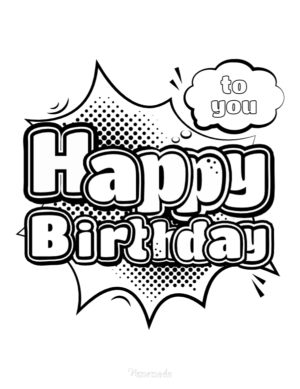 happy birthday coloring pages - comic book style