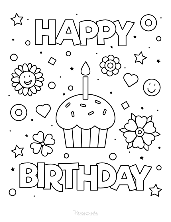 happy birthday coloring pages - cupcake with flowers and stars