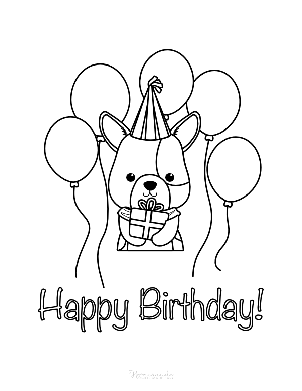 happy birthday coloring pages - cute animal with gift and balloons